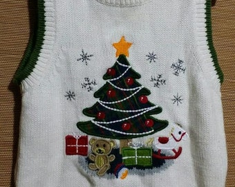 Little baby boy white Christmas tree vest, size 12 months.