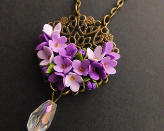 Filigree lilac necklace Purple floral jewelry gift-for-her Bronze flower necklace Botanical jewelry Spring blossom Crystal violet necklace