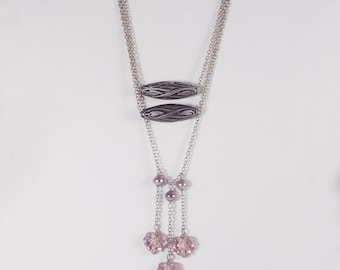 Art Nouveau Beads and Pink and Silver Czech Bead Statement Necklace with Bracelet