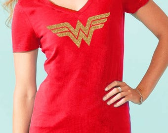Super hero tshirt, Wonder woman Inspired, Custom wonder woman Shirt, Gold Glitter, Bright Red T-shirt, super hero for ladies