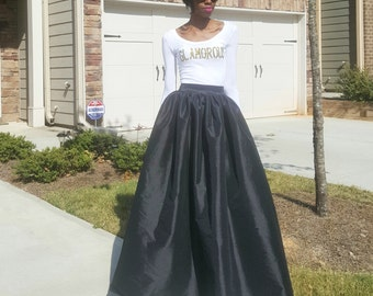 "Satin Taffeta Maxi Ball Skirt (XS - 6XL) Black, Teal, Yellow, Lavender, Orange ""Brandy"""