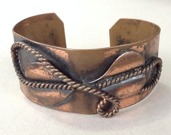 Copper Applied Rope and Leaf Cuff Bracelet