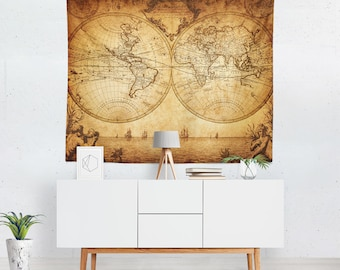 Vintage World Map Tapestry | Vintage Map Wall Tapestry | World Map Wall Décor | World Map Tapestries | World Map Wall Art