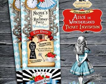 Alice in Wonderland Ticket Invitation - Alice in Wonderland Invitation - Printable Ticket Invitation - Tea Party - Wonderland Invitation