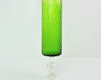 Mid century glass vase, green optic glass, footed cylinder vase, possibly Empoli - 8""