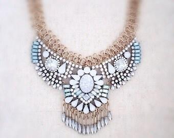 Statement necklace, gold statement necklace, white statement necklace, boho jewelry, wedding necklace, statement jewelry, crystal necklace