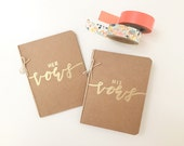 """Wedding Vow Books / Set of 2 / His & Hers / Handmade / Embossed / """"Vows"""" Calligraphy"""