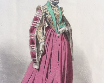 Hand-coloured original antique print by Francois Claudius Compte-Calix - Historical Costume - Epoque de Charles IX - French Fashion