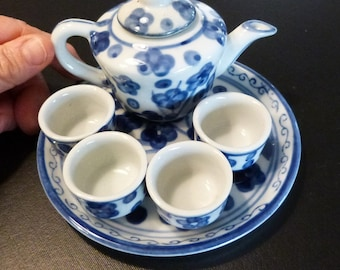 Miniature Blue and White hand painted porcelain tea set. Dolls tea set.