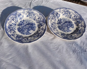 A pair of Italian blue and white pasta bowls, printed with a traditional rural scene and flower boarder decoration.