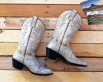 Women's Vintage 8 1/2 <> WESTEX Light Gray Faux Leather Eel Look Cowboy Boots <> Cowgirl Boho Biker
