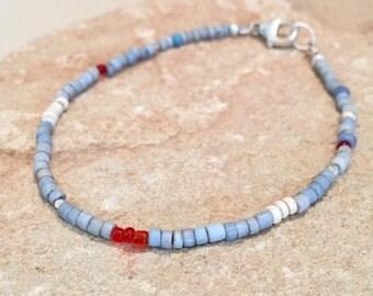 Blue bracelet, glass seed bead bracelet, single strand bracelet, Hill Tribe silver bracelet, boho style bracelet, small bracelet