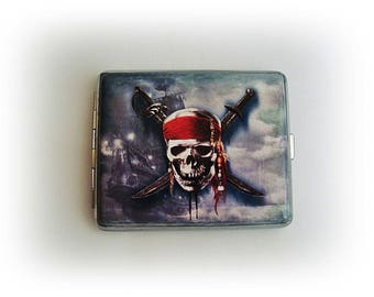 Pirate Cigarette case, Pirates of the Caribbean, Cigarette Cases, cigarette box, metal cigarette case,  men 100's, large cigarette