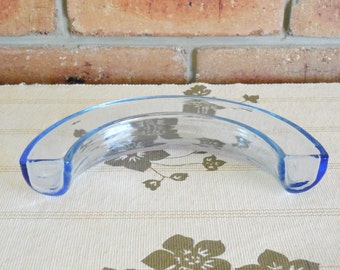 Made in England blue glass semi circle squat flower holder vase