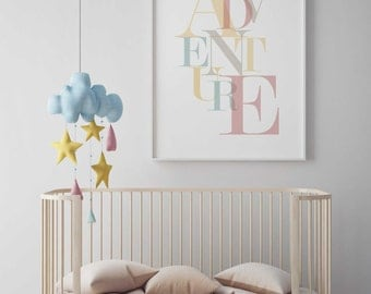 Adventure poster, Adventure print, Adventure nursery, Girl nursery art, Wall art for girls room, Kids wall art, Kids art prints adventure