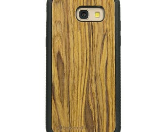 Samsung Galaxy A5 ' 2017 Olive Wood Case - Real Wooden Case - Black Bumper