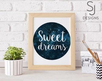40% OFF  Printable Art, Sweet Dreams, Galaxy Digital Art, Night sky, Nursery decor, Nursery Art Print