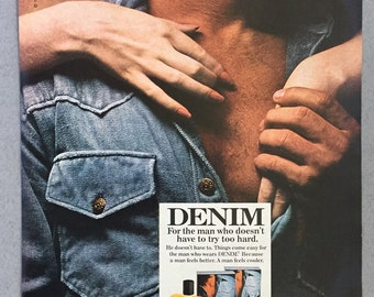 1980 Denim Cologne and After Shave Print Ad