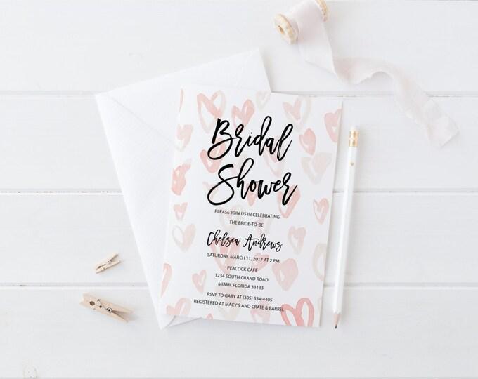 Pink Watercolor Hearts Bridal Shower Invitation, Modern Heart Bridal Shower Invite, Valentine's Day Printable Wedding Shower Invitation