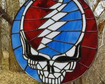 Grateful Dead Inspired Stained Glass Stealie