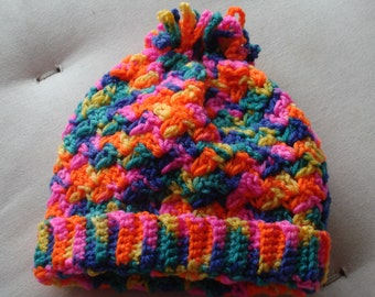 Baby Hat - multi coloured - crocheted in 8 ply Acrylic Yarn