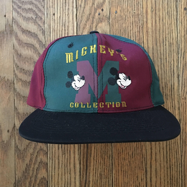 340490863d8 Vintage 90s Mickey Mouse Walt Disney Snapback Hat Baseball Cap