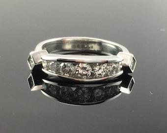 Channel Set Diamond Wedding Band- 14K White Gold Channel Set Diamond Wedding Ring- White Gold Diamond Bridal Set-