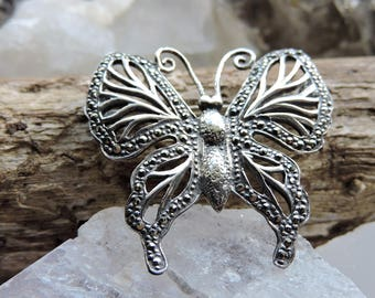 Butterfly Brooch Marcasite Sterling Silver