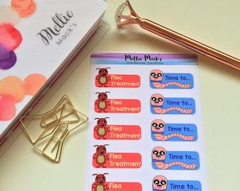 PETS FLEA WORM Health Reminders Planner Stickers for Erin Condren, Plum Paper, Happy Planner, Kikki K