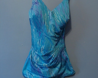 Vintage Bathing Suit 60's V Cut Wrap Style Skirted Shorts One Piece Swimsuit 1960's Swimwear Perfection Fit by Roxanne Size 12 Blue 34C Fun