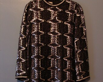 Vintage Mini Dress 60's Black Silver Sequins Lame Lurex Sparkly 1960's Flashy Long Sleeve Bell Sleeve Glam Tunic Huey Waltzer Mannequin 10
