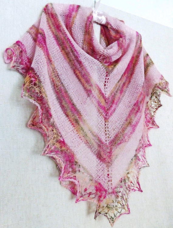 Ready To Ship! Free Shipping, Soft Pink, Lace Knit Shawl, Knitted Shawl, Hand Knit Scarf, Mohair Shawl, Wool Shawl. Hand Knitting. Openwork
