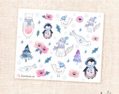 Winter animals deco stickers - Limited edition watercolor matte stickers/winter mystery box