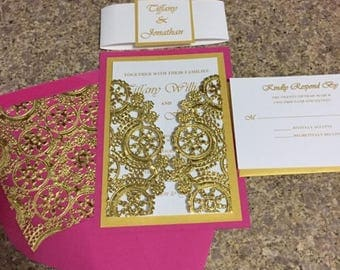 Hot Pink and Gold Wedding Invitation **** SAMPLE LISTING ONLY ****