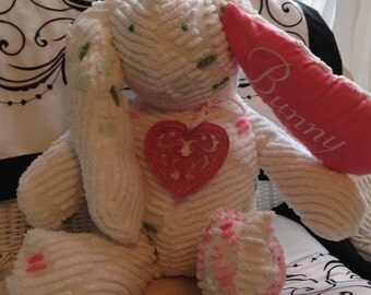 White vintage chenille stuffed bunny rabbit - lace heart - stitched - pink ribbon collar - embroidered name - soft plush stuffing - Easter