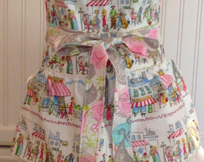Featured listing image: Women's ruffled full apron Paris cafe print hot pink striped ties pink polka dots cream eyelet lace ruffled skirt pink aqua cream bird toile