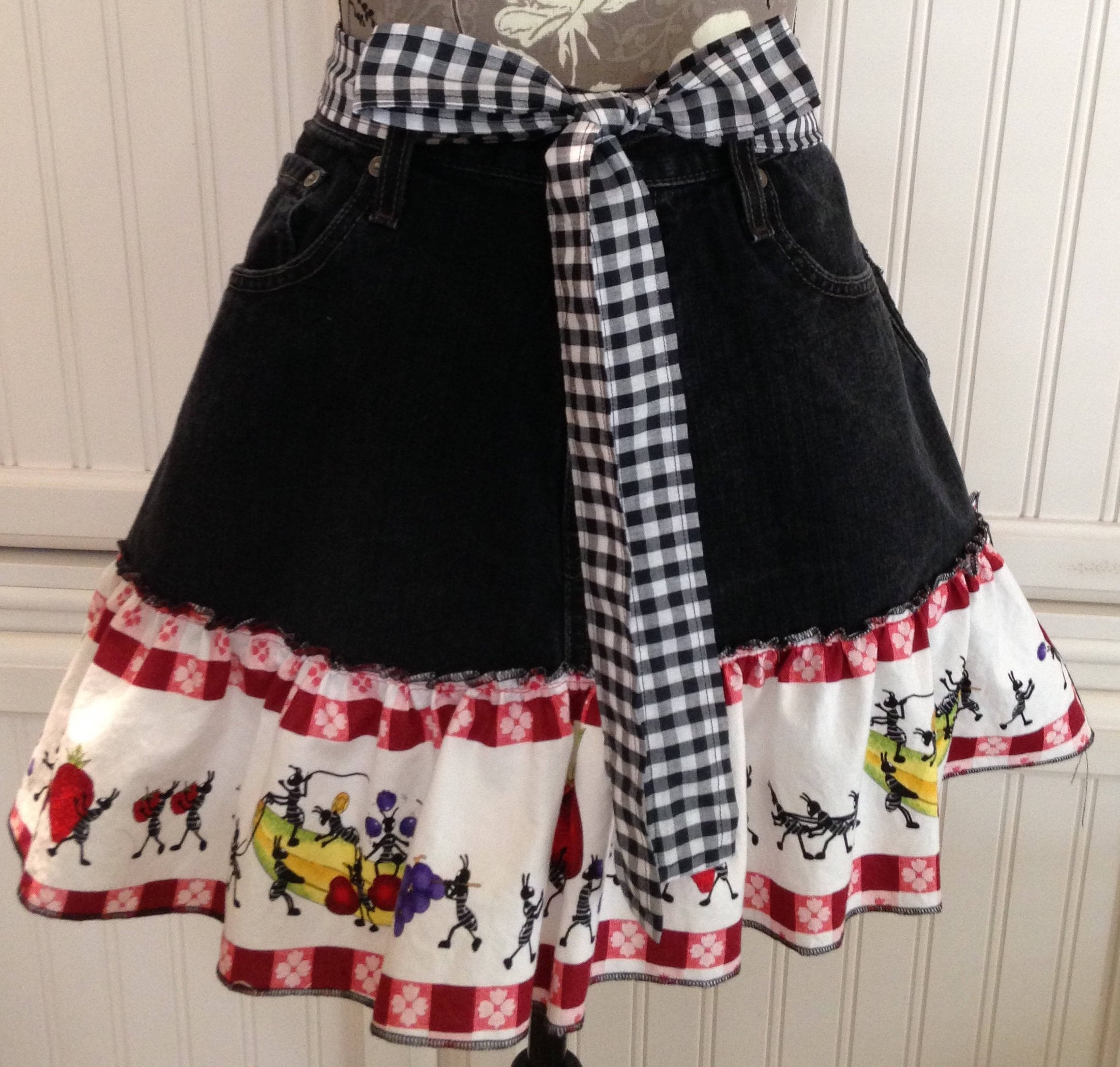 White half apron ruffle - Denim Half Apron Ant Picnic Ruffle Black Gingham Ties Long Waist Ties Black Denim Apron Women S Half Apron Repurposed Denim Picnic
