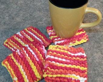 Knit coasters/mug rugs/Set of 4