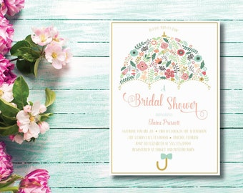 Floral Umbrella DIY Printable Bridal Shower Invitation