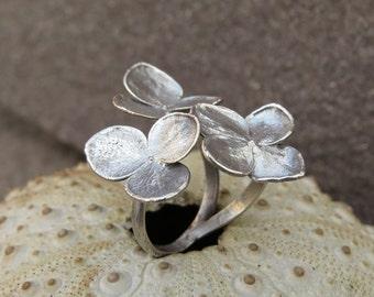 Hydrangea flower silver plated ring | Hydrangea flower split electroformed ring