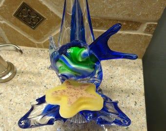Art Glass Blown Soap Dish with Fish, Blue Art Glass Fish and Water Soap Dish, Aquatic Soap Dish, Blue & Green Art Glass Fish