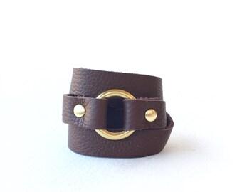 Triple Wrap Bracelet, Brown Leather Wrap Bracelet, Leather Bracelet, Leather and Metal Bracelet, Circle Bracelet, Brass Ring Bracelet