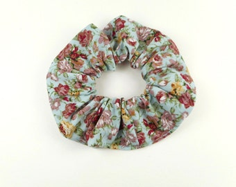 Scrunchie - blue with pink and yellow floral roses