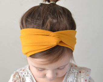 Mustard Yellow Baby Turban Headband, Baby Girl Headwrap, Headband, Baby Turban, Headwrap, Adult Turban, Stretchy Headband,