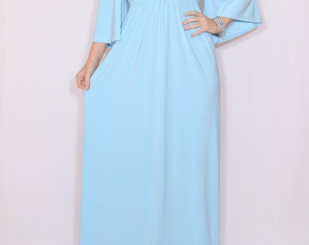 Maxi dress Light blue bridesmaid dress Empire waist dress Kimono dress Women Long dress
