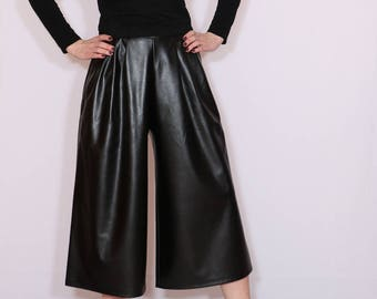 Black leather pants Women culottes High waist Wide leg pants with pockets