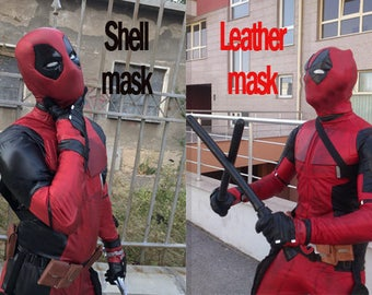 Deadpool costume/ Deadpool cosplay costume designer handmade to INDIVIDUAL measurements/Deadpool complete costume with SHELL or LEATHER mask
