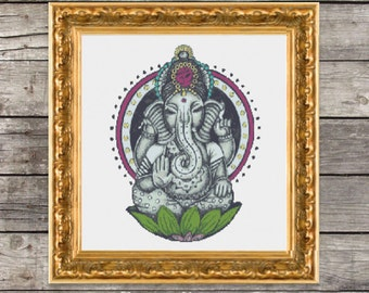 Hindu God Ganesh Cross Stitch PDF Pattern