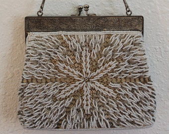 Vintage Mid Century Beaded Purse Made in Hong Kong FREE SHIPPING