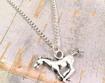 "Horse necklace, Mustang necklace, Horse charm, charm necklace, 18"" open chain necklace, Horseback rider, horse lover, horse jewelry"
